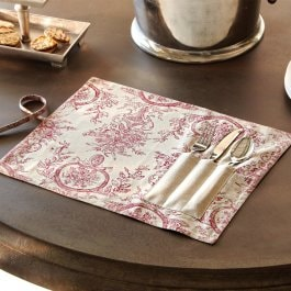Lot de 2 sets de table Tonnac crème/rouge