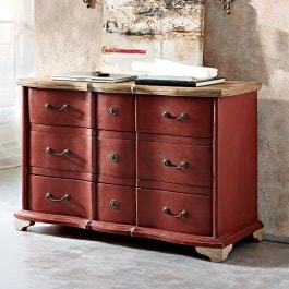 Commode Aiguillon rouge/marron