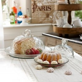 Lot de 2 cloches en verre avec plateau Darlington transparent