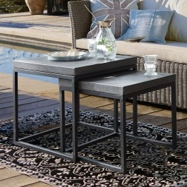 Lot de 2 tables d'appoint Evendale noir/gris