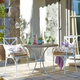 Ensemble table et chaises Lawndale blanc/beige