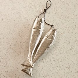 Lot de 2 décorations poisson Sardine´s argenté