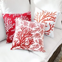 Lot de 3 housses de coussins Colourful corail/blanc