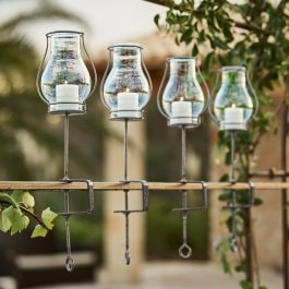 Lot de 4 photophores Calindra transparent/argenté