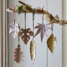 Lot de decorations de feuilles Merel marron