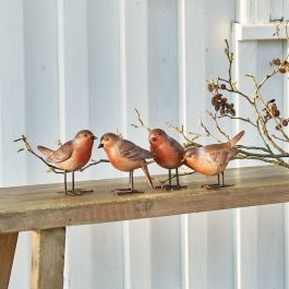 Lot de 4 oiseaux Siblings brun-rouge