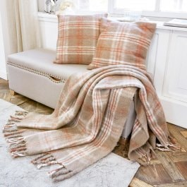 Plaid + 2 coussins Shaw marron