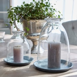 Lot de 2 photophores Gwendale transparent/gris