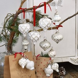 Lot de 6 décorations de Noël Appilly blanc/argenté