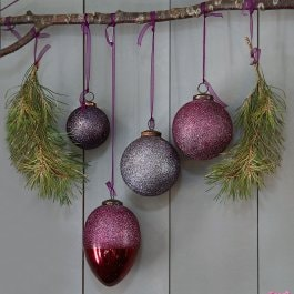 Lot de 4 décorations de Noël Ilva violet