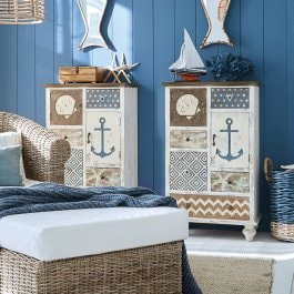Commode Nautical blanc vieilli