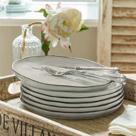 Lot de 6 assiettes Biarré gris