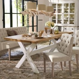 Table Covington marron/blanc vieilli