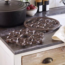 Lot de 2 dessous de plats Gratton marron vieilli