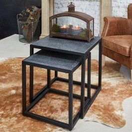 Lot de 2 tables d'appoint Foleshill noir