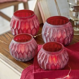 Lot de 4 photophores Huismes rouge