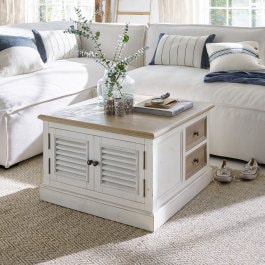 Table basse Cloverport marron vieilli/blanc vieilli