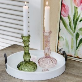 Lot de 2 bougeoirs Luketa vert/rose