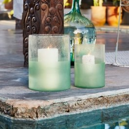 Lot de 2 photophores Amell transparent/menthe