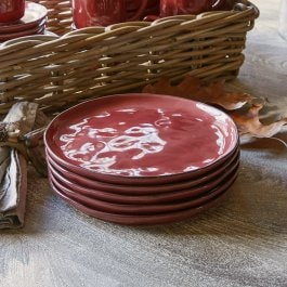 Lot de 6 assiettes Biarré rouge