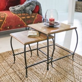 Lot de 2 tables d'appoint Harlon marron vieilli/noir