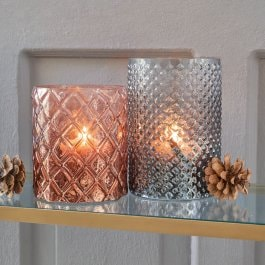 Lot de 2 photophores Gard gris/orange