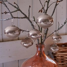 Lot de 6 boules de Noël Caily rose