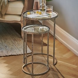 Lot de 2 tables d'appoint Manda marron vieilli
