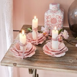 Lot de 3 bougeoirs Sappos rose
