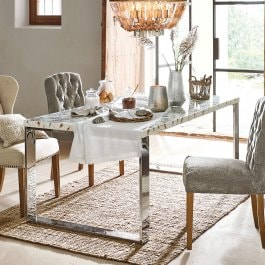 Table Destin beige/argenté