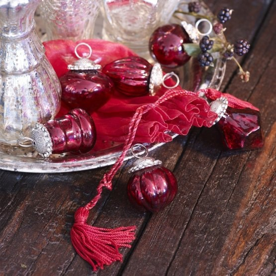 Lot de 6 décorations de Noël Levier rouge