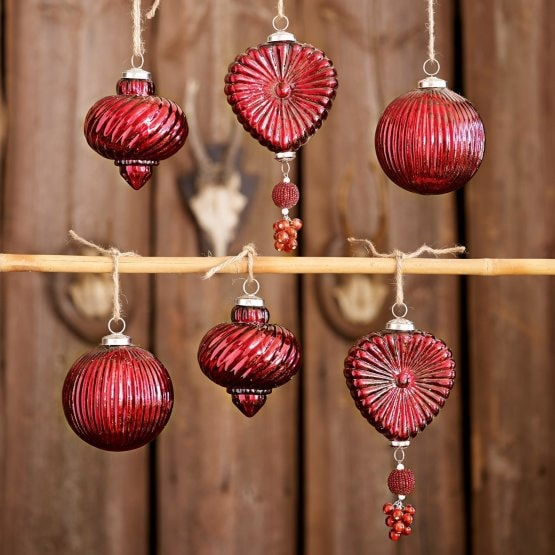Lot de 6 décorations de Noël Fuveau rouge