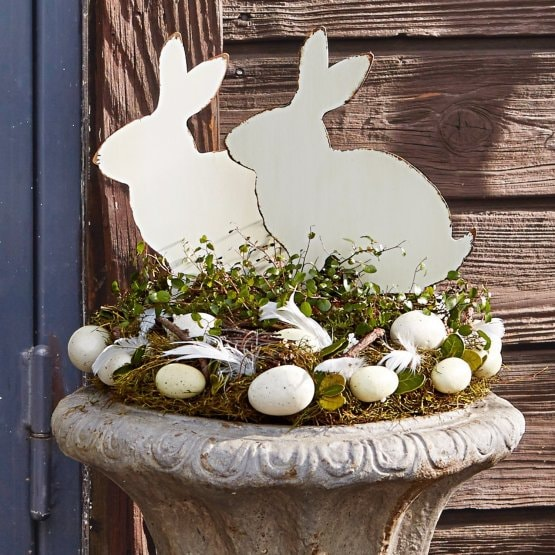 Lot de 2 décorations lapin Marty gris