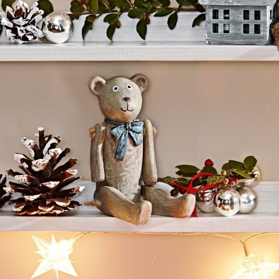 Lot de 2 décorations ours Bruno & Winnie gris vieilli