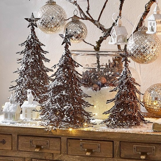 lot de 3 décoration Arbre Tennie marron/argenté
