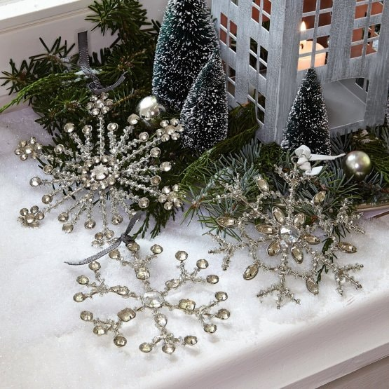 Lot de 3 décorations de Noël Gabriac argenté