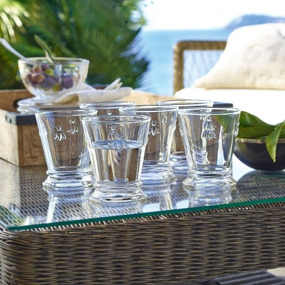 Lot de 6 verres à eau Abeille transparent