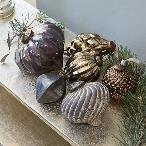Lot de 6 décorations de Noël Alva bleu