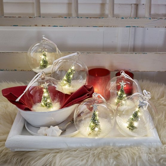 Lot de 6 décorations de Noël Ollie transparent