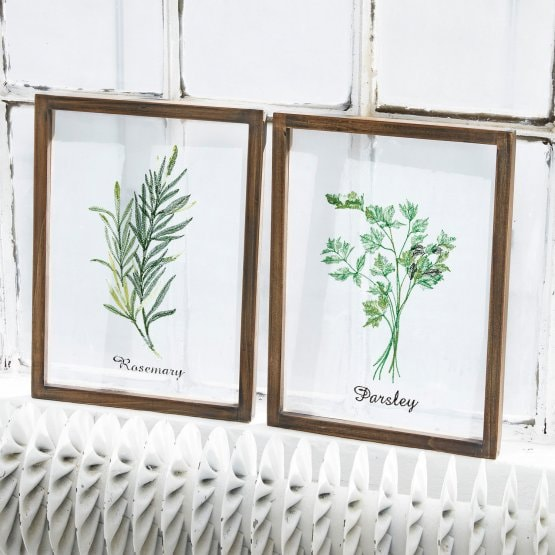 Lot de 2 tableaux Herbs marron/vert/blanc