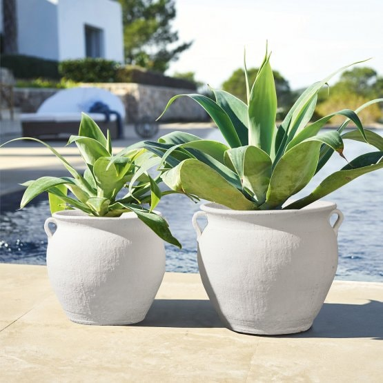 Lot de 2 cache-pots Durian blanc
