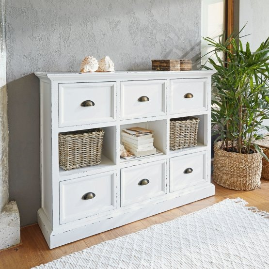 Commode Remilly blanc vieilli