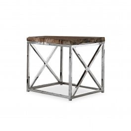 Table d'appoint Conri argenté/marron