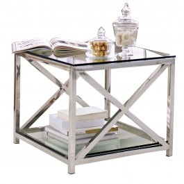 Table d'appoint Stamford argenté/transparent