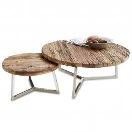 Lot de 2 tables basses Nevada marron/argenté